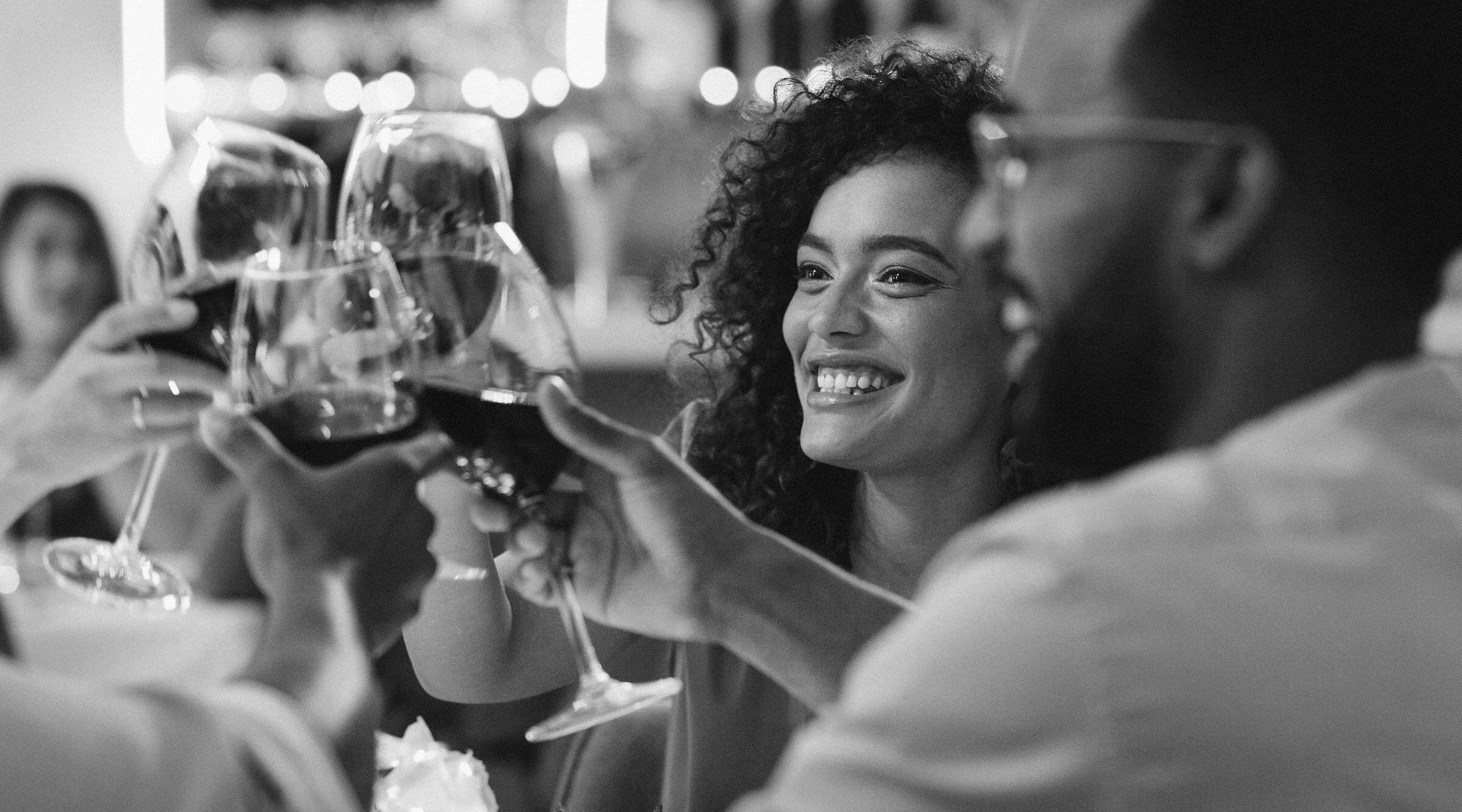 Azara friends making a toast