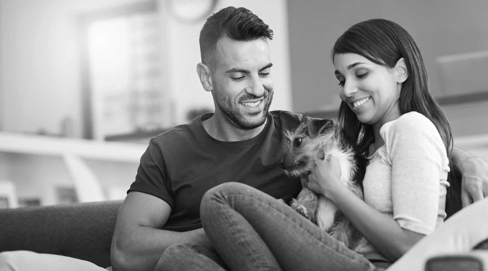 Azara happy couple with puppy